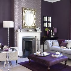 European Style 3D Embossed Damascus Wallpaper Blue Damask Non   10 AMAZING Purple Rooms  Purple Living RoomsLiving Room  . Black And Silver Living Room. Home Design Ideas