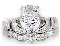 14K White Gold Diamond Claddagh Ring with Matching Wedding Band