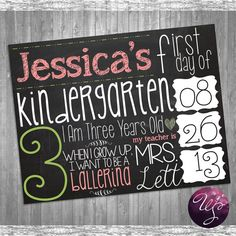 First Day of School Sign - Chalkboard or White (Printable File Only) Child's First Day of School; I Want To Be A Ballerina; Kid Signs