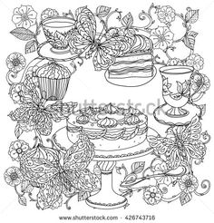 See More Uncoloured Cakes And Butterfly For Adult Coloring Book In Famous Zen Art Therapy Antistress Style