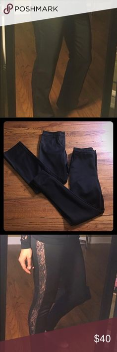 2 FOR THE PRICE OF 1  BUNDLE ! ! ! 2 pairs of black dress pants. Black lace ones are a size Medium from Forever 21. Plain black slacks size 4 BCBG. BCBG Pants
