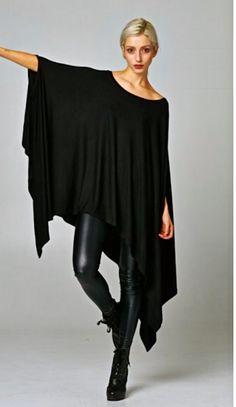 Poncho Tunic Dress Boho black oversize hi lo swing drapy stretchy rayon NWOT O/S #Boutique #Tunic #Casual