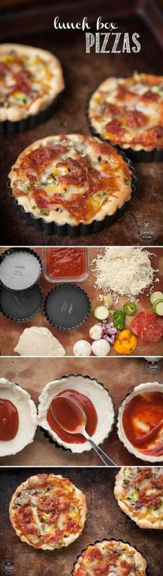 Take a break from the norm and make that midday meal interesting and delicious for both you and your kids with these Lunch Box Pizzas. Kids Meals, Family Meals, Easy Meals, Lunch Snacks, Lunches And Dinners, Healthy Lunches, Great Recipes, Dinner Recipes, Favorite Recipes