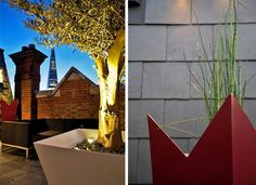 An angled white square tree planter with Olive facing the Shard in Bermondsey and a tall tapered red vase that mimicks the shape of the Shard with Horsetails. Photograph by Lucy Fitter.
