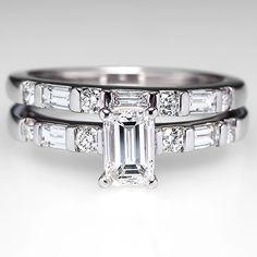 Emerald Cut Diamond Engagement Ring Wedding Set 14k White Gold
