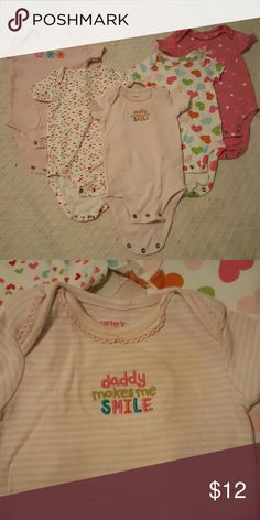 5 onesies for baby girl 5 short sleeve onesies. All size 3 months and a few never worn. No stains or tears. So adorable for your little one! From a clean and smoke free home. Make me an offer! carters One Pieces Bodysuits