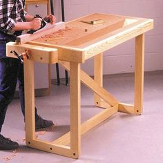 One Weekend Workbench, Woodworking Plans, Workshop & Jigs, Workbenches, Simple - wood workings plans Woodworking School, Woodworking For Kids, Cool Woodworking Projects, Popular Woodworking, Woodworking Horse, Woodworking Articles, Woodworking Tutorials, Woodworking Quotes, Unique Woodworking