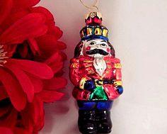 Nutcracker Soldier Ornament VTG Christmas Decoration Hand Painted Blown Glass