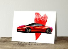 Valentines day card, with a ferarri. Great card choice for anyone who loves cars. card is Available in 2 colors and as a set. Love Anniversary, Anniversary Cards, Cards For Boyfriend, Love Car, Custom Cards, Gifts For Husband, 2 Colours, Ferrari, Valentines Day
