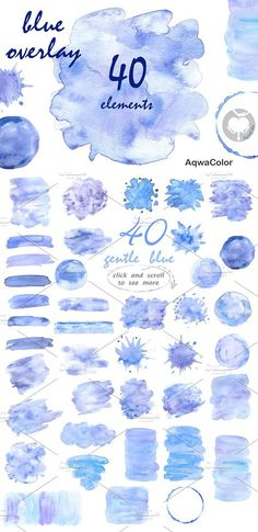 Blue overlay watercolor clipart. Textures. $4.00