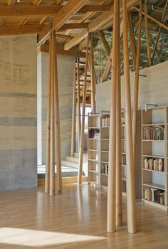 design firm: cutler anderson architects features: elegant tree posts, rammed earth, shelving, stone and wood floors