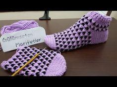 Tasarım Minik ters kalpler bot patik yapımı (1.bölüm crochetbooties) - YouTube