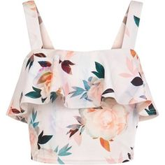 New Look Petite White Floral Print Frill Crop Top