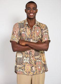 5856df2f32d8 Camisa de botão estampa África Africana original Goya Lopes Design  Brasileiro