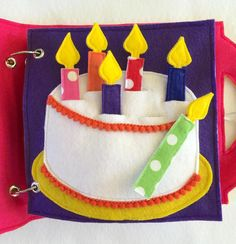 NEW  Birthday Cake Custom Quiet Book Page a