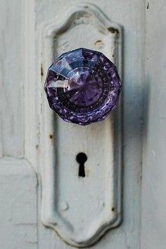 ~ Amethyst color, Antique glass door knob, loving it, I think it's my favorite. Glass Door Knobs, Knobs And Knockers, The Doors, Front Doors, Boho Home, Bohemian Homes, Purple Glass, Purple Door, Turquoise Door
