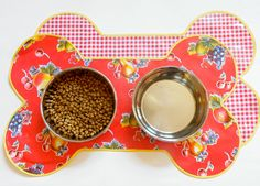 Large+Oilcloth+Doggie+Dish+Mat++Reversible+Red+by+modernjune,+$18.00