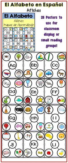 El alfabeto en Español aficher para el salón de clases o para grupos de lectura dirigida.