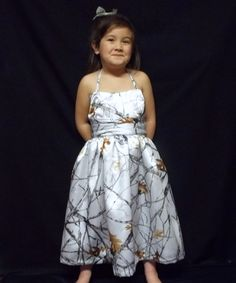 White camo flower girl dress.. So cute, James would love it!