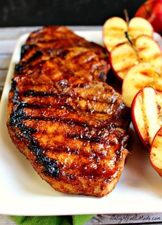 Apple Cider Pork Chops {The most INCREDIBLE Grilled & Glazed Pork Chops!} These Apple Cider Glazed Pork Chops are AMAZING! Perfectly seasoned, juicy, delicious and ready in under 30 minutes! Pork Chop Recipes, Grilling Recipes, Meat Recipes, Cooking Recipes, Chicken Recipes, Healthy Recipes, Recipies, Cooking Time, Delicious Recipes