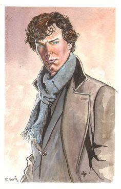 Benedict Cumberbatch Sherlock Holmes watercolor by Scott Christian Sava