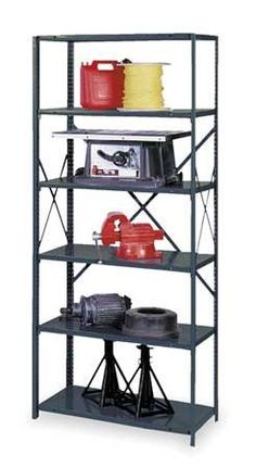 EDSAL 1 Starter Shelf,85InH,48InW,12InD by Edsal. $87.94. Shelving Unit, Starter, Open, Material Steel, Gauge 22-ga., Number of Shelves 6, Width 48 In., Depth 12 In., Height 85 In., Shelf Capacity 500 lb., 1-1/2 In. Increments, Gray, Finish Powder Coat