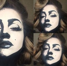 Monroe cartoon makeup by pritylipstick on IG.Marilyn Monroe cartoon makeup by pritylipstick on IG. Makeup Fx, Pop Art Makeup, Crazy Makeup, Face Paint Makeup, Lion Makeup, Dope Makeup, Skull Makeup, Lip Art, Looks Halloween