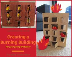 Boy Mama: Cardboard Box Use (A Burning Building) Bible Crafts For Kids, Preschool Crafts, Activities For Kids, Fireman Crafts, Fire Safety Week, Community Helpers Preschool, Fire Prevention, Dramatic Play, Fire Trucks