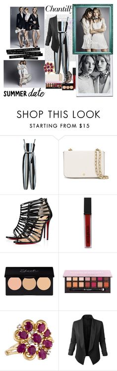 """""""summer date"""" by houseofdior ❤ liked on Polyvore featuring Oris, Dolce&Gabbana, Tory Burch, Christian Louboutin, Smashbox, Anastasia Beverly Hills and LE3NO"""
