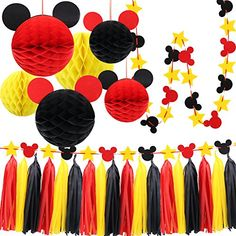 Mickey Mouse Party Decoration Kit, Colourful Mickey Paper Honeycomb Balls, Red Yellow and Black Tassel Garland Tissue Felt Banner Kids Birthday Themed Party Ideas