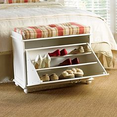 Shoe Storage Bench $159. Preferences: dual purpose nightstand, more lightweight, shoe dividers, more narrow and a bit taller, detachable mobile wheels; one convenient item to clean as opposed to two.
