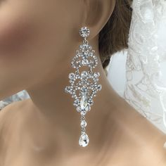 45.00$  Watch now - http://vipsr.justgood.pw/vig/item.php?t=4gw3bx25158 - Bridal jewelry, Bridal earrings, Wedding jewelry, Cubic zircon crystal earrings 45.00$