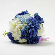 Lovely Round Hand-tied Satin Rose Wedding Bouquet – AUD $ 29.50