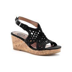 SO® Toyger Girls' Wedge Sandals, Girl's, Size: 12, Black