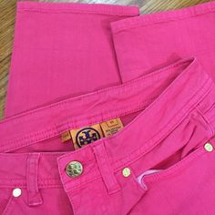 Tory Burch Pink Straight Leg Jeans Hot skinny jeans from Tory Burch! These jeans have been gently worn and show mild signs of wear as pictured. No defects of any kind (no rips, tears, stains)They are still in fabulous shape and ready to make a statement! They are a size 25, they measure 25 inches in the inseam and 13 inches across the waist when laying flat. Tory Burch Jeans Straight Leg