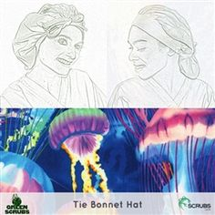 Limited Edition: Green Scrubs - Tie Bonnet Hat - Jellies