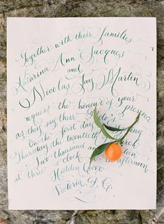 Teal Calligraphy and Kumquats | Adrian Michael Photography | Artistic Wedding Inspiration in Poppy, Teal, and Gold
