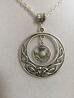 Silver Celtic Design and Scottish Thistle Pendant by joytoyou41