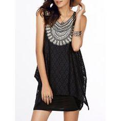 Stylish ScoopNeck Lace Asymmetric Tank Dress Twinset For Women from $15.28 by NASTYDRESS