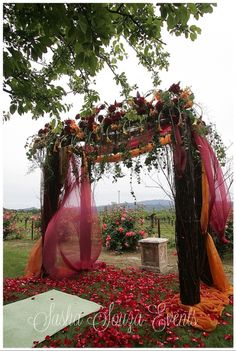 Daily Pretty: Garden style red dogwood ceremony structure lightly draped with sheer fabric in tones of cranberry and saffron and topped with a crown of ivy, bear grass, calla lily, Ecuadorian roses and vanda orchids. Image by Sherman Chu