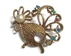 Rhinestone Brooch Vintage Peacock Pin with by PalmFrondJewelry