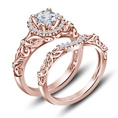 Rose Gold Finish 925 Silver Round Cut Sim Diamond Engagement Bridal Ring Set You will find different rumors about … Princess Wedding Rings, Wedding Rings Simple, Wedding Rings Solitaire, Diamond Wedding Rings, Bridal Rings, Unique Rings, Wedding Jewelry, Engagement Rings, Ideas Joyería