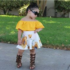 Gorgeous outing wears for the kids - DarlingNaija Cute Little Girls Outfits, Kids Outfits Girls, Dresses Kids Girl, Toddler Girl Outfits, Cute Kids Fashion, Little Girl Fashion, Toddler Fashion, Outfits Niños, Baby Outfits