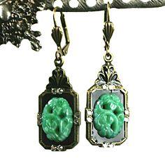 Anne Koplik Jewelry - Vintage Reproduction Oriental Style Art Deco Lever Back Earrings *Exclusive* $19.95