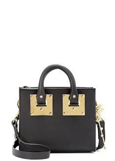 Sophie Hulme�black leather cross-body bag Two top handles, detachable shoulder strap, gold hardware, palm tree keyring, internal patch pocket, leather lining Zip fastening top Comes with a dust bag