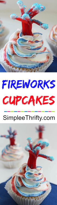 Fireworks Patriotic Cupcakes!  Super easy, cute,  festive and fun with an explosive surprise!! These delicious cupcakes will be a big hit!