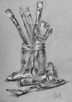 brushes and paint sketch from life. 5.5x8.5 graphite on toned paper.