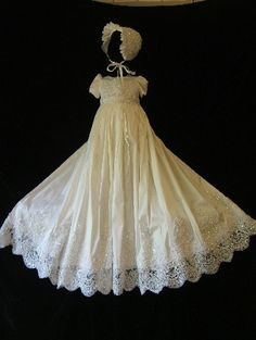 ORIANA II size 3/6 white Angela West Christening gown set  bonnet,booties,bib,blanket , bloomers and custom monogram