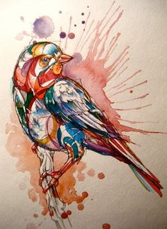 Very cool watercolor illustration. I would someday like to attempt to paint/draw my bird Lucky like this. She is a Sun Conure.