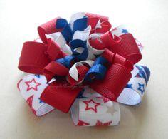 4th of July Hair Bow - Flower Loop Korker Bow by simpledesignbows